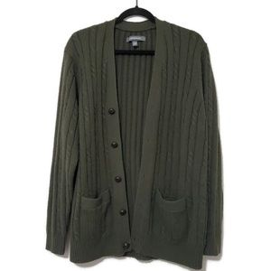 Croft & Barrow knitted button cardigan olive